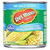 Del Monte Corn No Salt Added Whole Kernel Peaches and Cream, 341 ml, Pack of 12