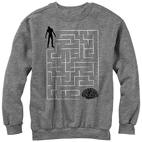 Lost Gods Men's Halloween Zombie Brain Teaser Maze Athletic Heather Sweatshirt]()