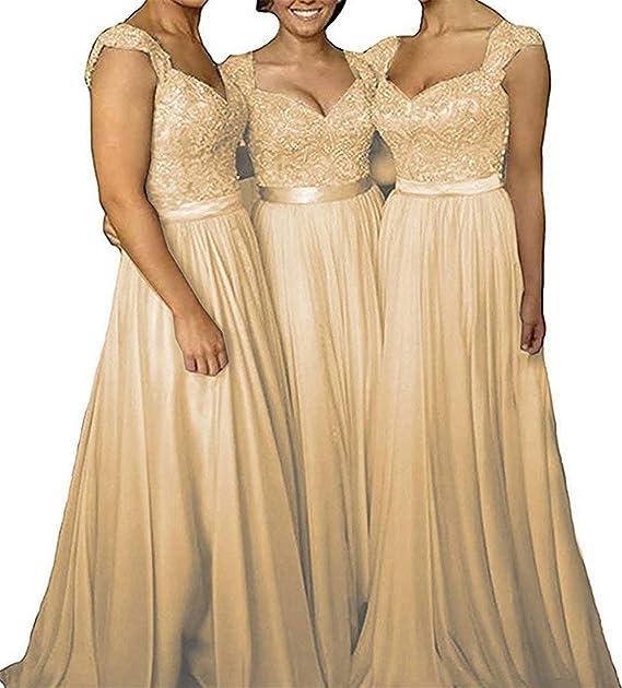 Lorie Womens Cap Sleeve Lace Chiffon Bridesmaid Dresses