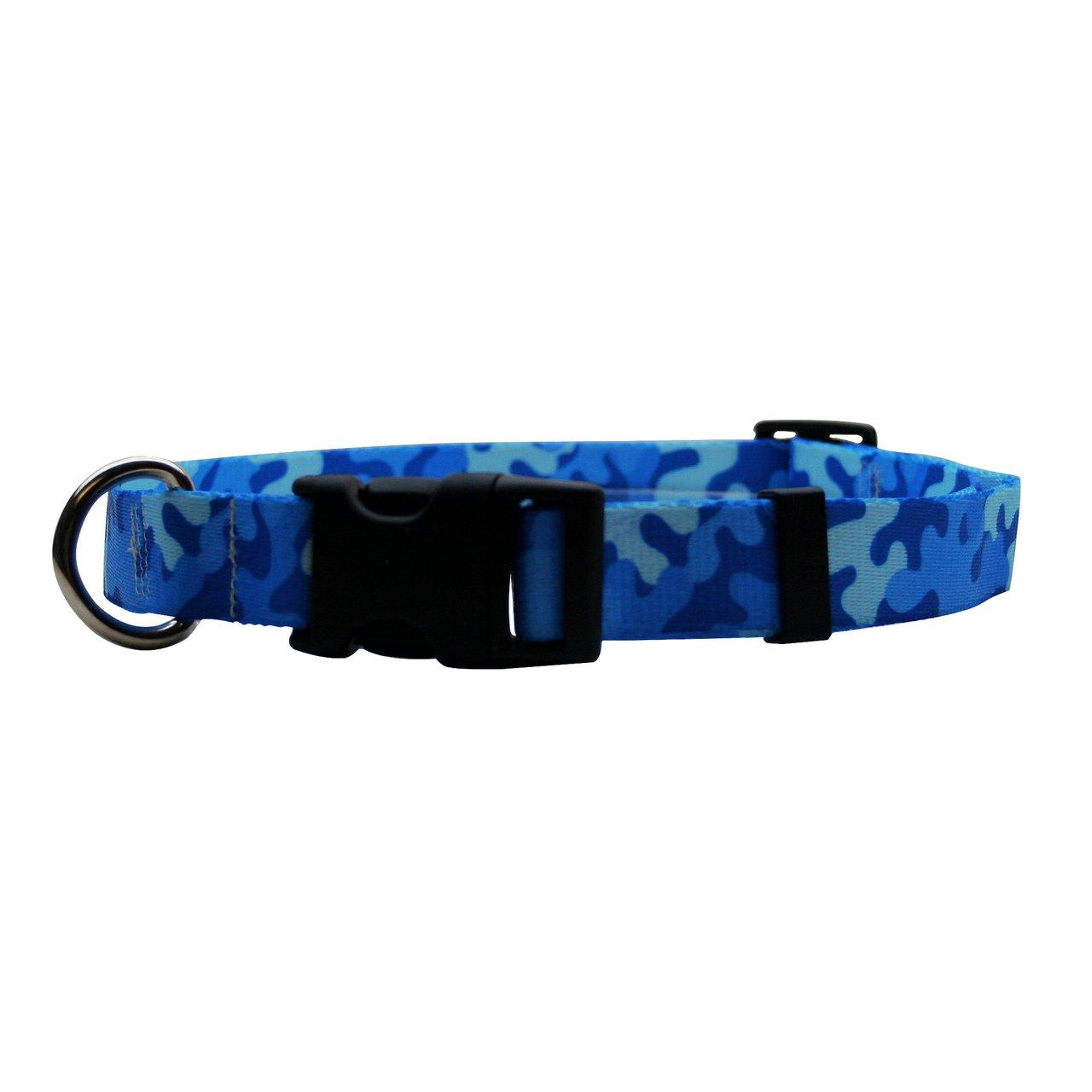 Camo bluee Medium 14\ Camo bluee Medium 14\ Yellow Dog Design Camo bluee Dog Collar Fits Neck 14 to 20 , Medium 1  Wide