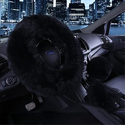 "3Pcs Fashion Steering Wheel Covers - Silence Shopping Winter Warm Australia Pure Plush Soft Wool Handbrake Cover Gear Shift Cover Guard Truck Car Accessory 14.96""x 14.96"" 1 Set (Black): Automotive"