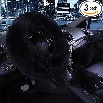 3pcs//set Black Warm Plush Car Steering Wheel Cover Handbrake Grip Case Accessory