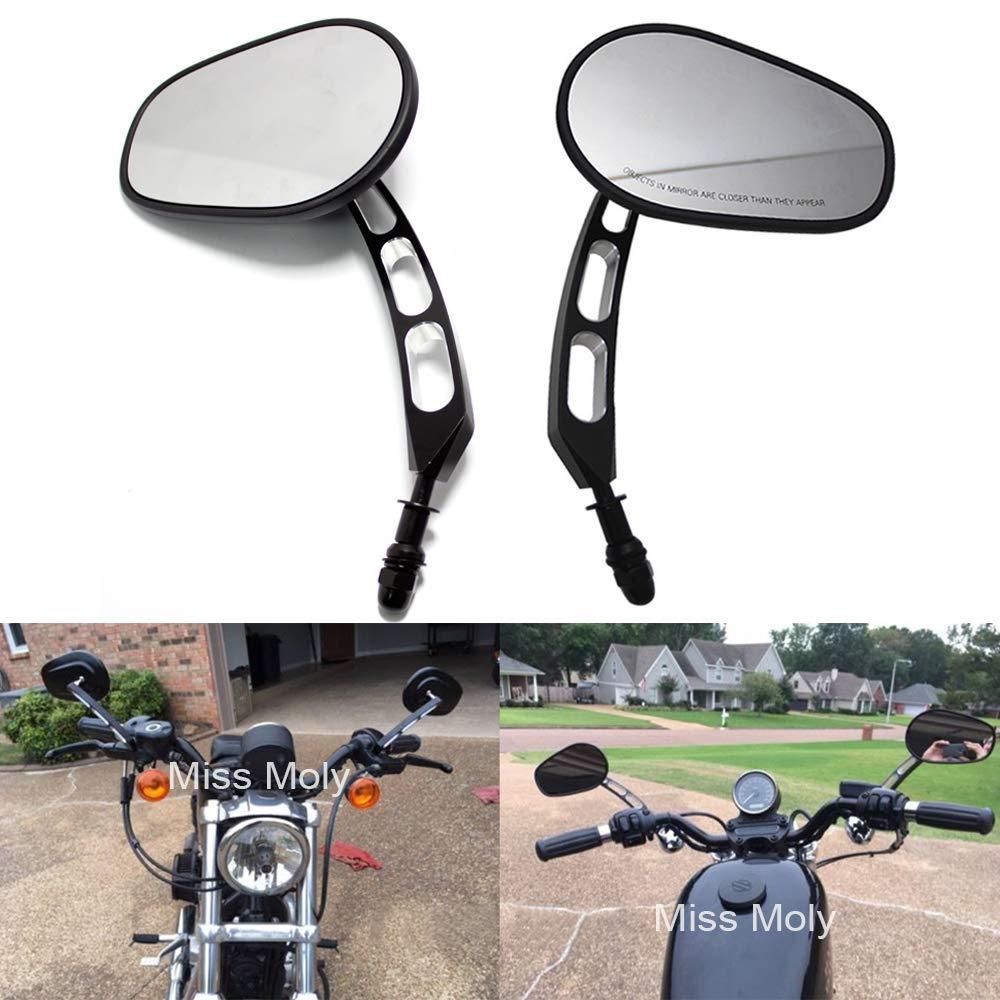#1-Noir 8mm Moto R/étroviseur pour Dyna Sportster XL883 1200 Rue Cross Bones Glide Road King