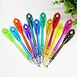 Happlee Colored Gel Ink Pens 12 Colors Set with Case, Cute Diamond Head Color Gel Pen Set for Adult Coloring Books, Writing, Kid Drawing, 0.38mm Colorful Ink Pen (Individual Colors)