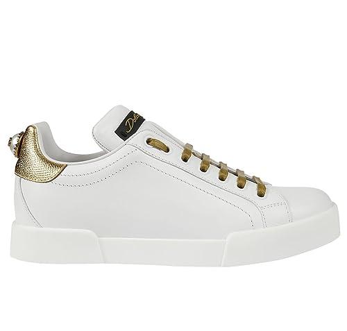 Dolce   Gabbana Scarpe Sneakers Donna Portofino CK0150 AH011 89662 Bianco  Oro N.36 EU de6d21facc5