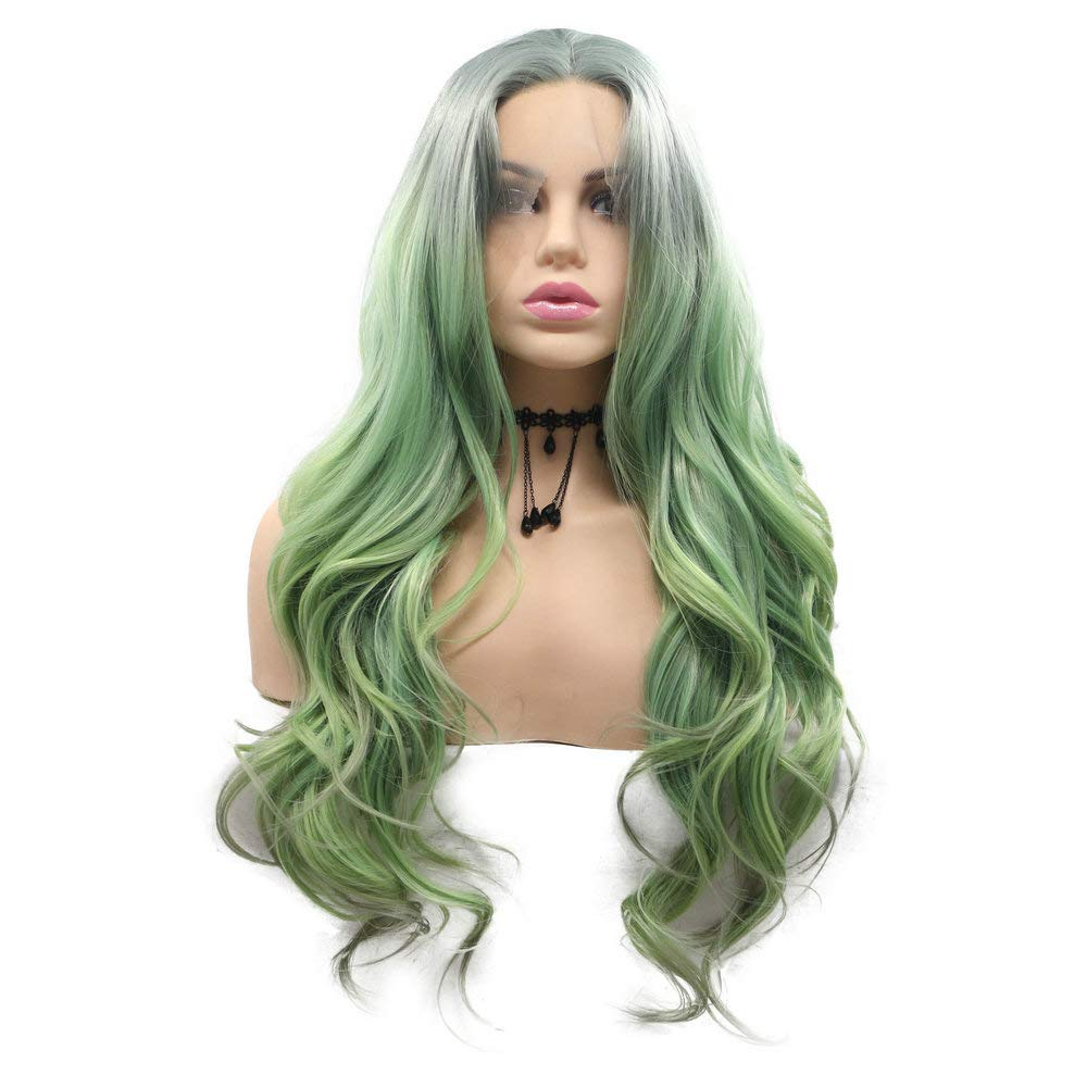 Drag Queen Mermaid Green Wigs for Women Cosplay Gray Roots Ombre Light Green Lace Front Wig Long Synthetic Wavy Hair 3 Tone Safety Daily Replacement Travel Makeup 26