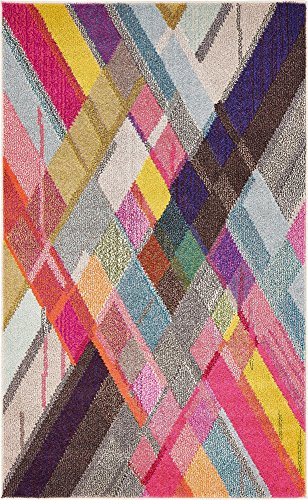 Modern Abstract Geometric 3 feet by 5 feet (3' x 5') Barcelona Multi Contemporary Area Rug