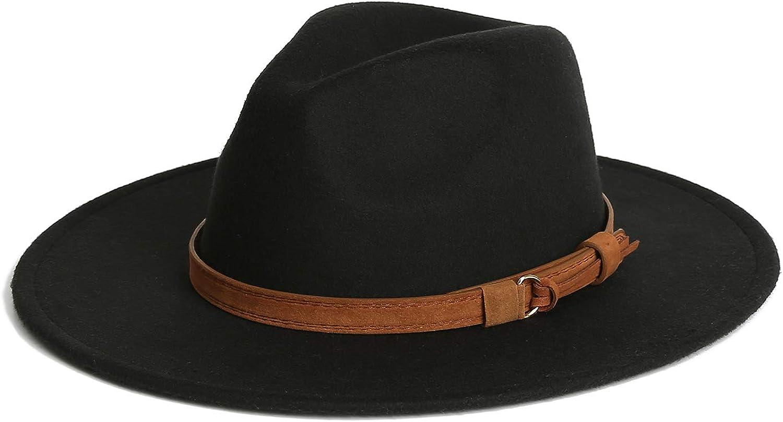 Dantiya Men & Women Vintage Wide Brim Wool Fedora Panama Hat with Belt Buckle