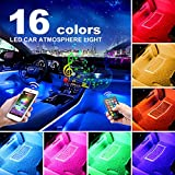 AUXITO Car LED Strip Lights, Multi-Coloured Music Car Interior Lights Under Dash Lighting Kit, RF Remote with 16 Fix Colors and APP Control, Sound Active Function (DC 12V)