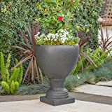 Great Deal Furniture Shiny Outdoor Dark Grey Stone Finished Cast Stone Urn For Sale