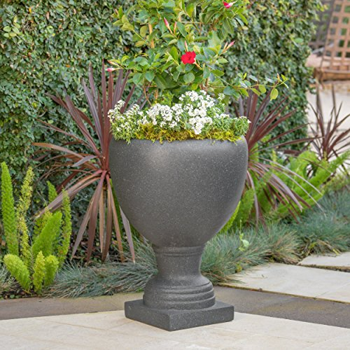 Great Deal Furniture Shiny Outdoor Dark Grey Stone Finished Cast Stone Urn