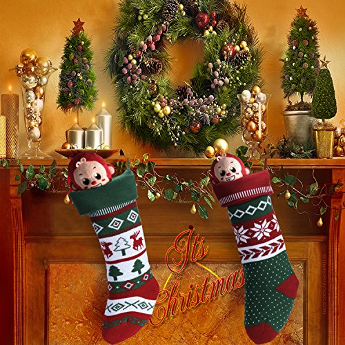 Knit Christmas Stockings for Family 22'' x 7'' Sets of 2 – Red/White/Green Snowflake knitted Hanging Bags - Holiday Gift - Decor,Decorations Christmas Tree,Mantel by Dragon Squama (Image #6)