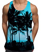 Mens Tank Tops Workout Tank Printed Ibiza Palm Trees Holiday Clothes Festival Top