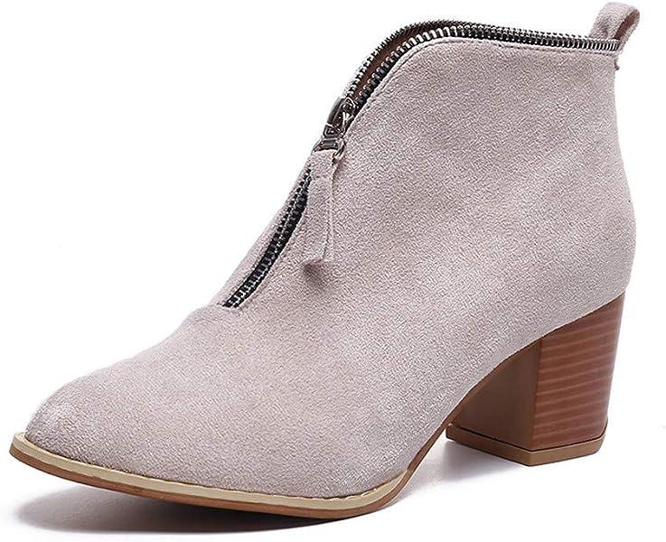 Botines para Mujer,Beikoard Mujeres Zapatos De Moda Tobillo Sólido Leopardo Cremallera Shoes Botín Botas Cortas,SóLido Leopardo-Print V-Zip Tacones Gruesos ...