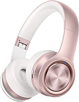 Amazon Com Picun P26 Bluetooth Headphones Over Ear 40h Playtime Hi Fi Stereo Wireless Headphones Girl Deep Bass Foldable Wired Wireless Tf For Phone Tv Bluetooth 5 0 Wireless Earphones With Mic Women Rose Gold Electronics