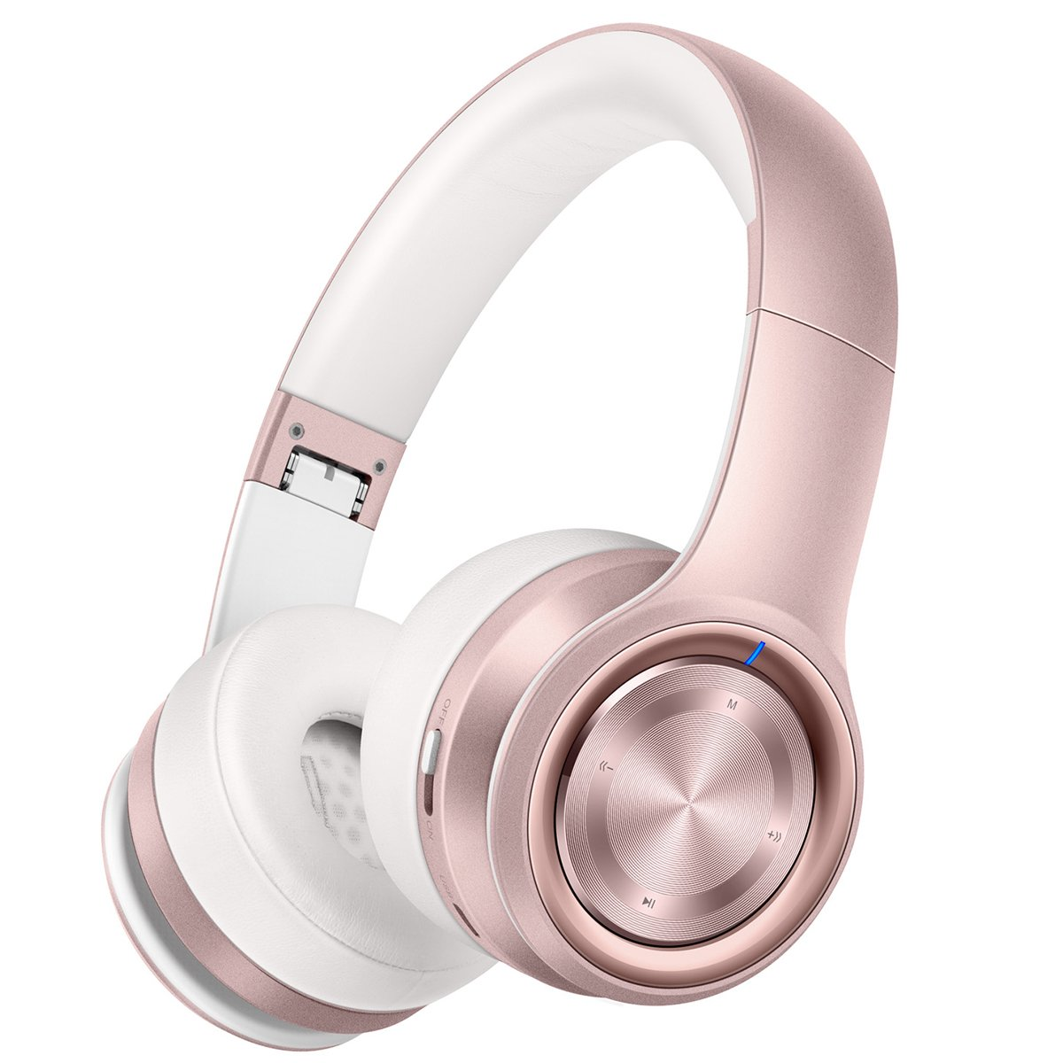 Picun P26 Bluetooth Headphones Over Ear 40H Playtime Hi-Fi Stereo Wireless Headphones Girl Deep Bass Foldable Wired/Wireless/TF for Phone/TV Bluetooth 5.0 Wireless Earphones with Mic Women (Rose Gold) by Picun