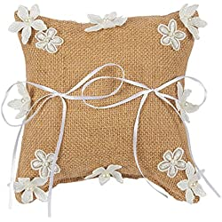 Juvale Ring Bearer Pillow – Wedding Ring Cushion, Engagement Ring Pillow - Vintage Burlap Pillow with Ribbon and Fabric Flowers - 7.5 x 7.5 x 3.5 Inches