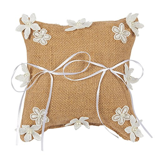 Juvale Wedding Ring Bearer Pillow - Vintage Burlap Ribbon Floral Ceremony Cushion -7.5 x 7.5 x 3.5 Inches (Dog Ring Pillow Wedding)