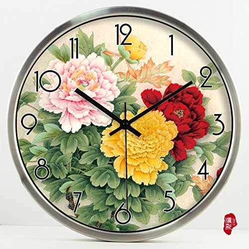 (TNKML Large Indoor Decorative Wall Clock Pen Peony Literary Creative Clock Clock Quartz Clock Country Mute Hanging Table 146, 16 Inches, Silver Metal Frame)