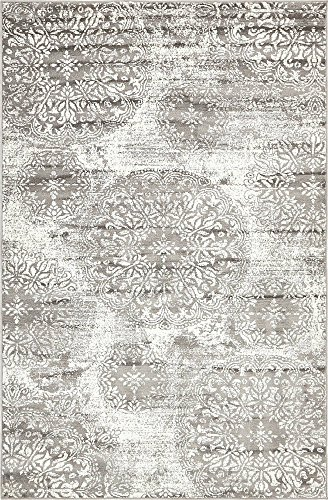 Sofia Collection Traditional Vintage Beige Area Rug, 5' x 8' Rectangle, Gray ()