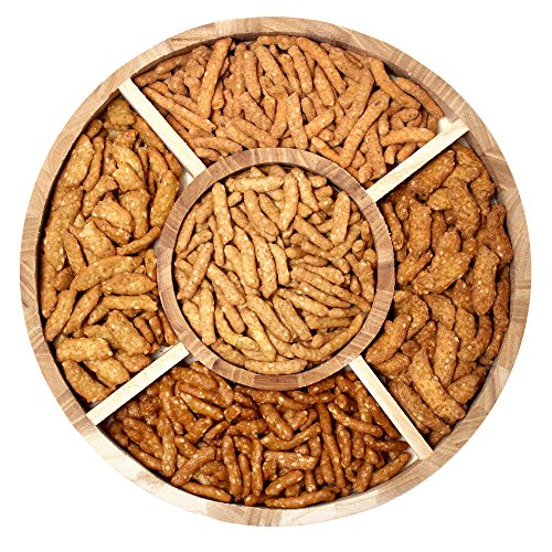 Sincerely Nuts Sesame Stick Mix (5 Sectional) | Salted, Garlic, Cheddar, Oat Bran, & Honey Roasted Variety Gift Tray | Kosher (Round Wooden Tray) (Vegan Gourmet Gift Baskets)