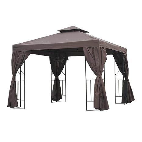 Outsunny Gazebo parasole, copertura per esterni, per feste e ...