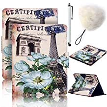 Galaxy Tab E 9.6 inch Case,Vandot Auto Wake/Sleep Stand Wallet Case [Card Slots] Flip Folio Cover Painting for Samsung Galaxy Tab E 9.6 inch SM-T560 T561+Pompom+Screen Stylus Touch Pen-Floral Tower