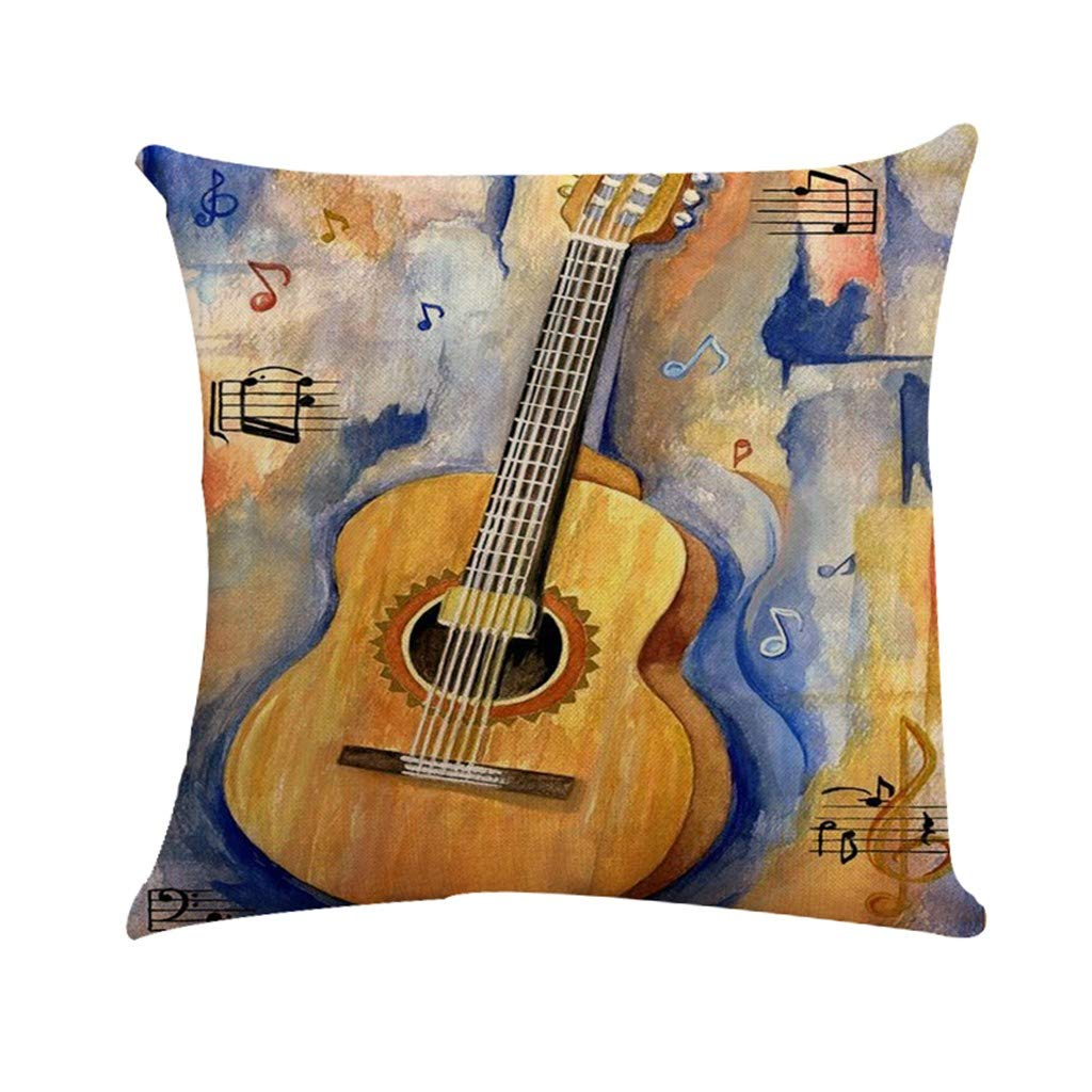 Cyhulu Quote Throw Pillow Cushion Cover, Realistic Instruments Print Square Pillow Case for Home Living Room Bedroom Sofa Art Decoration, Guitar, Saxophone, Piano (B, One size)