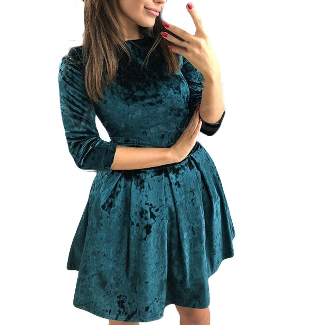 Womens Velvet Dresses Fashion Solid Sexy Tunic Ruffle Skirt Evening Party Mini Dress (S, Green)