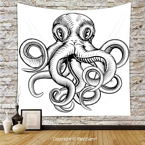 (FashSam Hanging Tapestries an Illustration of an Octopus in A Dynamic Woodblock Style Monochromic Artwork Wall Blanket for Living Room Dorm Decor(W59xL90))