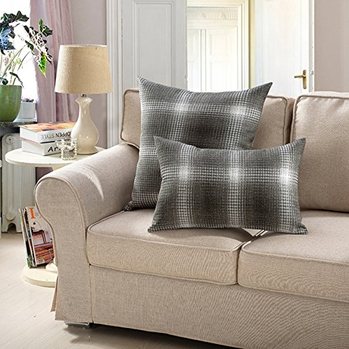 MochoHome Linen Decorative Square Checkered Plaid Throw Pillow Cover Case Pillowcase Cushion Sham - 18