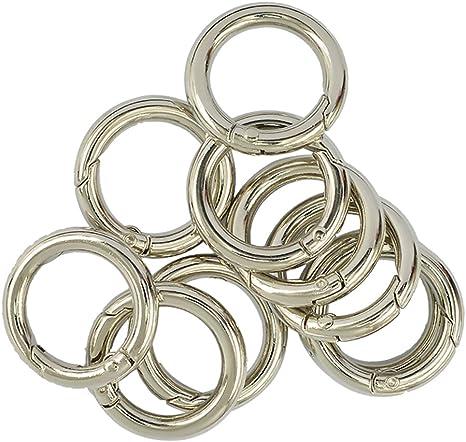 Baoblaze 10 Stück Silber Karabinerhaken Schnapphaken Karabiner Ring Snap Haken Karabinerhaken Clip für Schlüsselanhänger Handtasche Schultergurt