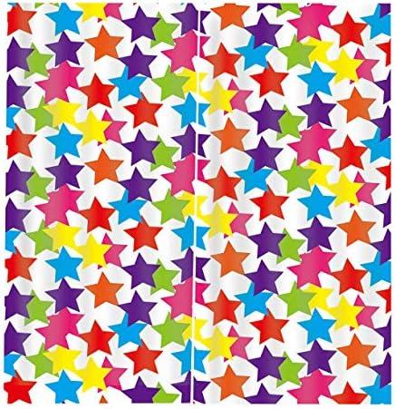 QinKingstore 色の星2ピース/セット150×166センチ窓カーテン用ホームキッチンリビングルームの寝室の窓の装飾