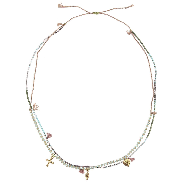 KELITCH Multi Strand Seed Beaded Bracelet Tassel Leaf Cross Charm Kelitch Jewelry CAMN07