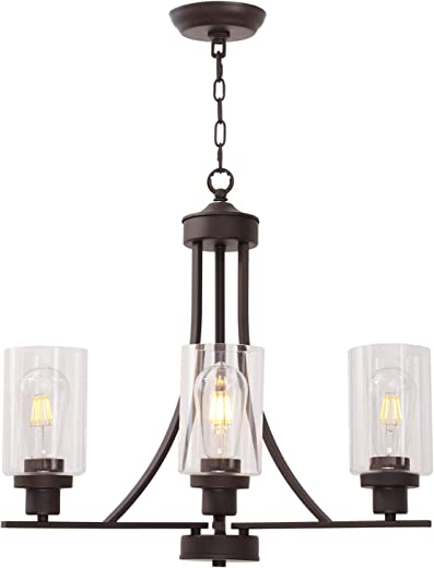 BONLICHT 3 Lights Oil-Rubbed Bronze Traditional Chandelier Rustic Kitchen Island Lighting Fixtures Hanging Clear Glass Cylinder Pendant Lights Classic Ceiling Light for Dining Room Bedroom Foyer