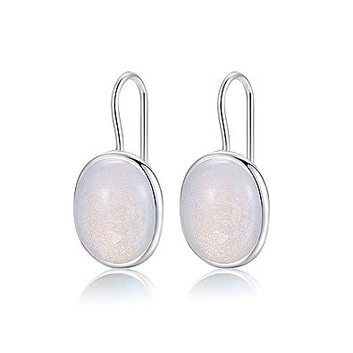 Natural Oval Clear Moonstone Drop Earrings Solid 925 Sterling Silver Hook MetJakt Earring Opal for Women's Fine Jewelry (Moonstone) XSMxnBBK