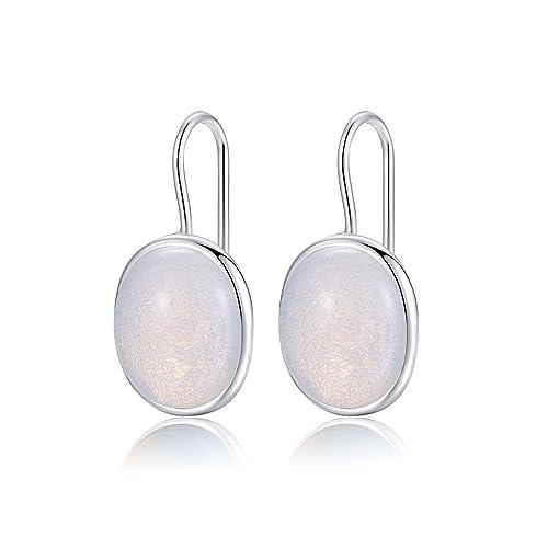 69f5aa8d5e87 Naturales ovalada piedra lunar y claro gota pendientes plata de ley 925  sólido gancho metjakt pendientes Opal para las mujeres Fine de joyería   Amazon.es  ...