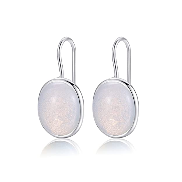 Natural Oval Clear Moonstone Drop Earrings Solid 925 Sterling Silver Hook MetJakt Earring Opal for Women's Fine Jewelry (Moonstone) qh7yJPJh8V