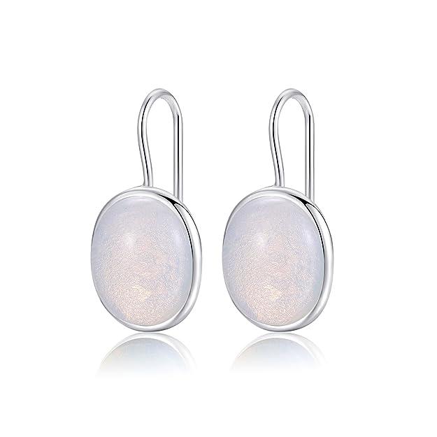 Natural Oval Clear Moonstone Drop Earrings Solid 925 Sterling Silver Hook MetJakt Earring Opal for Women's Fine Jewelry (Moonstone) HDxAYU80