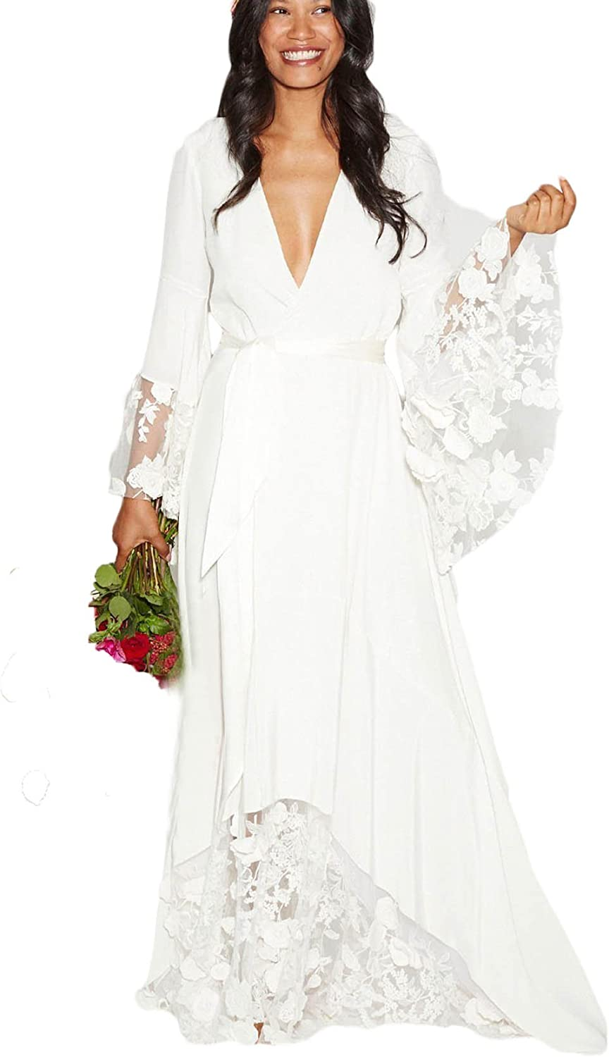 Dressesonline Women S Lace Chiffon Bohemian Wedding Dresses V Neck Beach Wedding Gowns With Long Sleeves At Amazon Women S Clothing Store