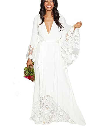 Dressesonline Women s Winter Bohemian Wedding Dresses Bridal Gowns with  Long Sleeves at Amazon Women s Clothing store  8bc35d6ec
