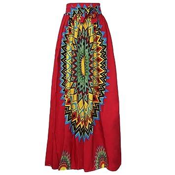 smileq - Dashiki impresión falda Retro gasa cintura Alta partido ...