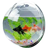 Acrylic Round Wall Mounted Hanging Fish Bowl Aquarium Tank for Gold Fish and Beta Fish Plant Vase Home Decoration Pot,15cm Diameter