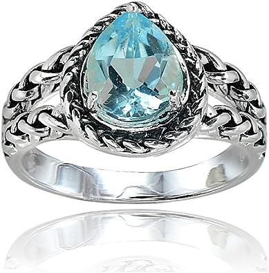 Ice Gems Sterling Silver Blue Topaz Round Oxidized Rope Split Shank Ring