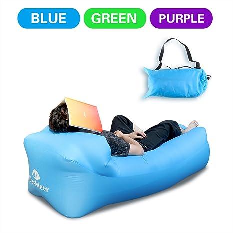 DasMeer Inflable sofá tumbona silla de compresión saco de dormir, camas de aire portátil, ...