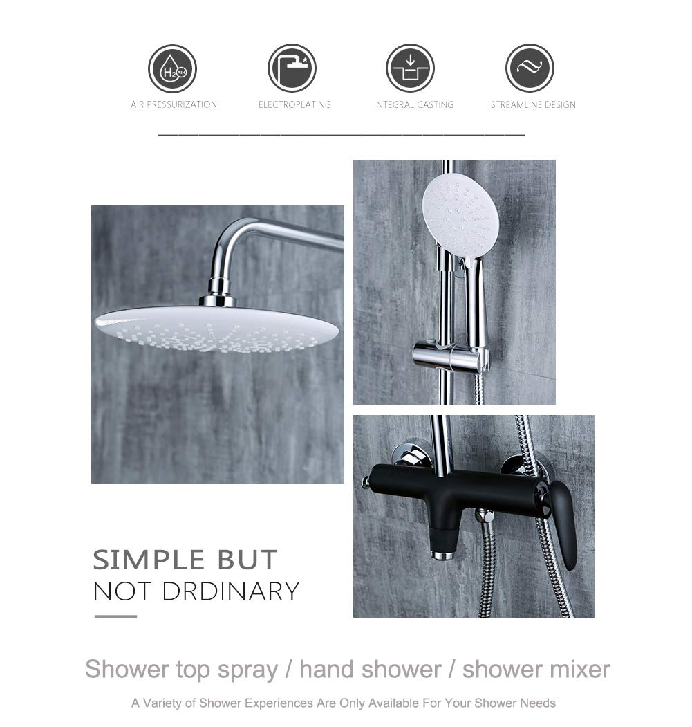 Wall-Mounted Shower System, Wall-Mounted Shower Set Luxury rain Mixer, rain Shower top Shower Set, Thermostatic Shower Set (Third Gear Adjustment) by Take a shower-YAMEIJIA (Image #3)