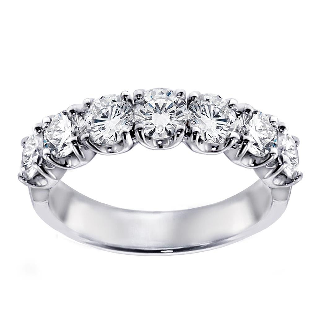 1.50 CT TW Prong Set Round Diamond Anniversary Wedding Ring in 14k White Gold - Size 9 by VIP Jewelry Art