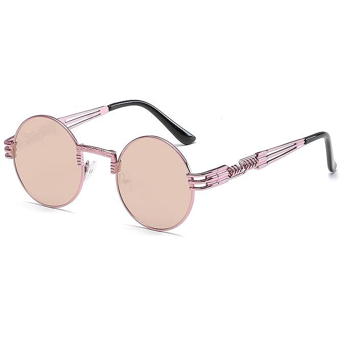 4dfd8d782e CVOO Fashion Gothic Steam Punk Sunglasses Men Vintage Coating Mirrored  Glasses Retro Round Circle Sun Glasses