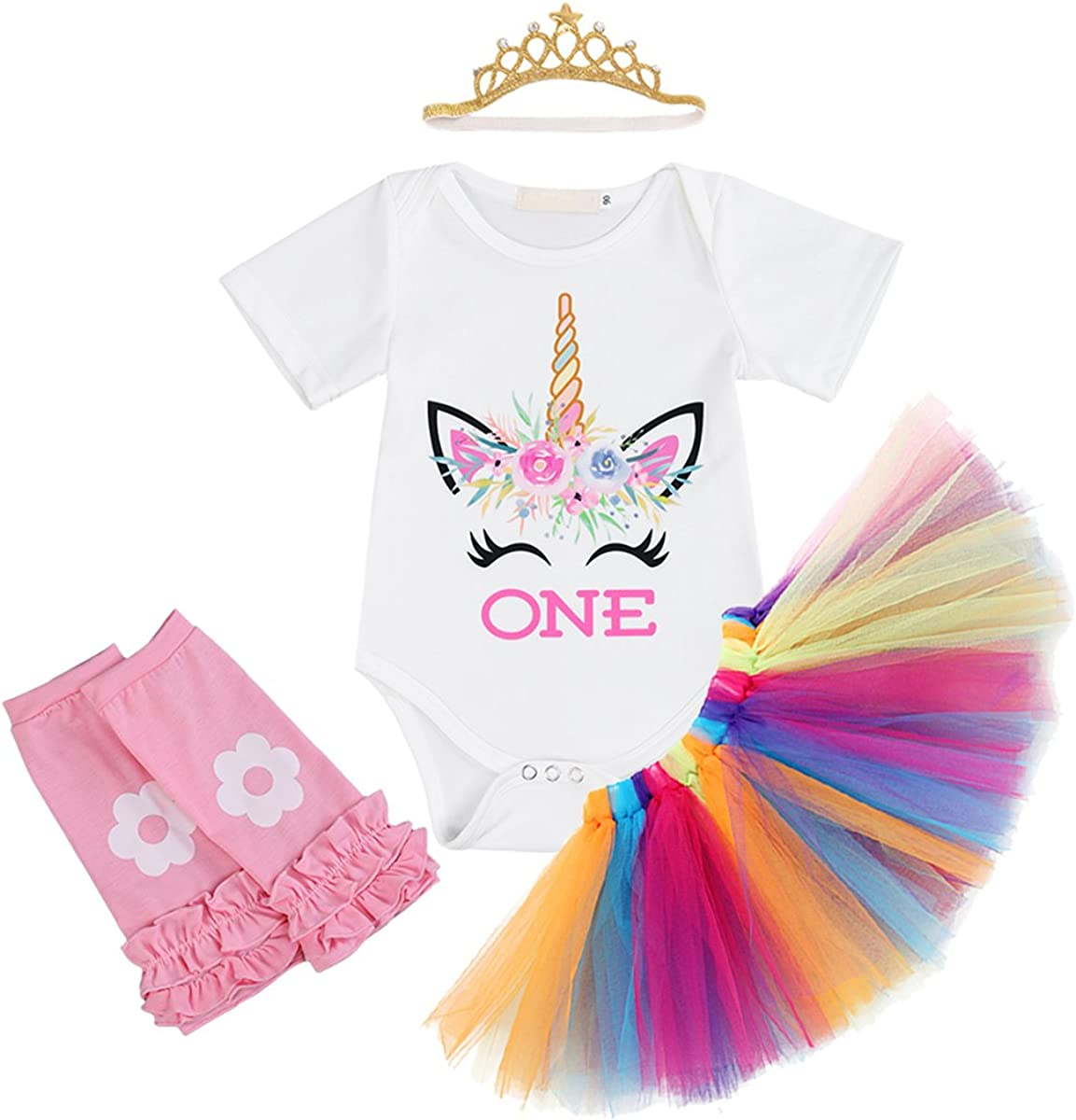 Shoes 4PCS Outfits Unicorn Headband Skirt FYMNSI Baby Girls 1st Birthday Unicorn Cake Smash Floral Romper