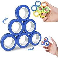 Chnaivy Magnetic Fidget Rings,6 PCS Decompression Finger Fidget Toys, Magnetic Rings Fidget Toys for Adults Kids Finger…